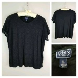 Chaps Plus 3X Black Short Sleeve Lace Overlay Top